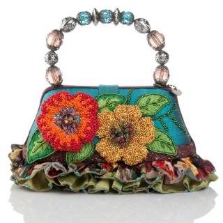 New Mary Frances Bali Floral Bag with Beaded Handle COA Authentic