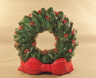 Antique Vintage Ceramic Lamp Christmas Wreath Holiday Light Display