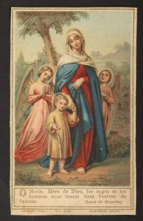 Virgin Mary Child Jesus Angels Antique Holy Card