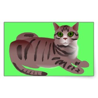 Green Eyed Cartoon Cat Rectangle Stickers