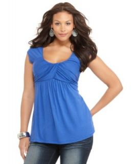 Soprano Plus Size Top, Cold Shoulder Empire Waist   Plus Size Tops