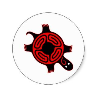 Native American Indian Turtle Clan Totem Round Stickers