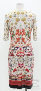 Mary Katrantzou Multi Color Floral Print Half Sleeve Dress Size Medium