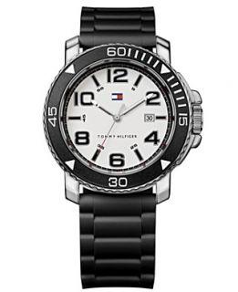 Tommy Hilfiger Watch, Mens Black Silicone Strap 43mm 1790851