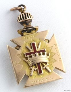 Large Antique Scottish Rite Knights Templar Masonic Fob   14k Yellow