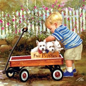 Masterpieces Joys of Childhood Puppy Love Square Jigsaw Puzzle 1000 PC
