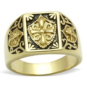 New Knights Templar Masonic Mason Mens Ring Gold Plated Size 9