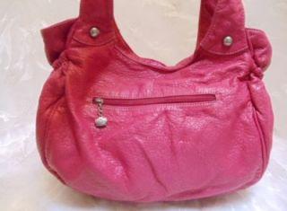 Kathy Van Zeeland Purse Gorgeous Fuchsia Pink L K w Silver Studs Large