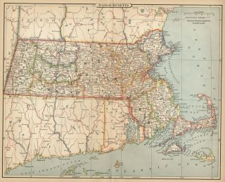 Massachusetts Map Authentic 1883; Counties, Cities, Towns, Topography