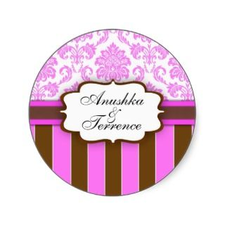 Pink Brown Damask Stripe Wedding Sticker