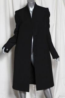 Martin Margiela Womens Black Long Standing Collar Hidden Button Coat
