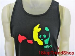 Enjoi Skateboard Company Logo Tank Top Mens Rasta Panda Black Large