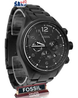 matte black dial stainless steel bracelet chronograph men watch NEW