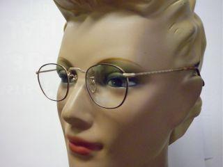 Matt Gold Brown Metal BINOCLE Ladies Eyeglasses F8P