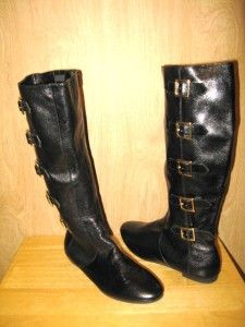 New $285 Matiko Black Leather Womens Susy Tall Buckle Boots 9 M