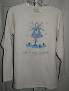 lovely quacker factory winter white angel theme sweatshirt size s