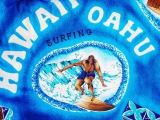 Men Vintage 60s Maui Surfer Hawaiian Aloha Surf Shirt L