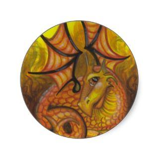 Fire Dragon big eye fantasy art stickers