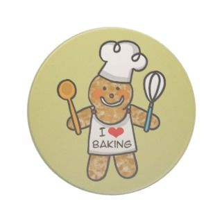 love baking (gingerbread man cookie) beverage coaster