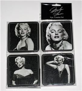 MARILYN MONROE Hollywood Star and Legend WOOD COASTER SET 4 Pc New