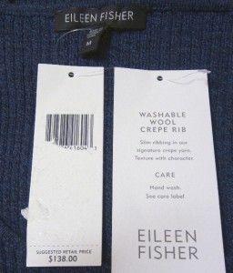 Eileen Fisher Washable Wool Crepe Rib Denim Blue Scoop Neck Long