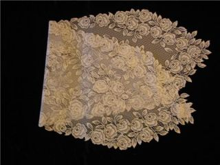 Heritage Lace Tea Rose 14x48 Doily Table Runner Scarf Ecru