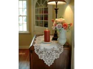 Heritage Lace Heirloom 14x33 Table Runner Scarf Doily Antique White