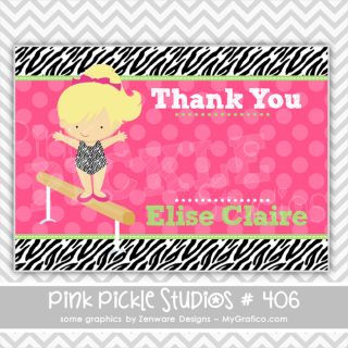 Gymnastics Personalized Party Invitation or Thank You Card 406