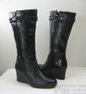 New UGG Australia Maxene Wedge Black Leather Shearling Boot US 10 EU