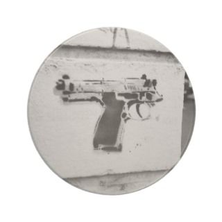 backwards gun stencil graffiti art coaster