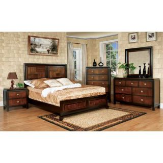 Solid Wood Patra Acacia Walnut Finish 6 Piece Bedroom Set