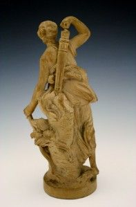 19c French Terracotta Figure of Diana The Huntress