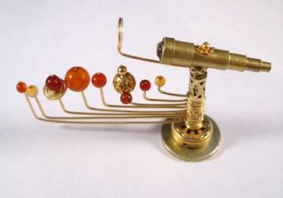 Miniature Medieval Movable Orrery and Telescope OOAK Dollhouse Mini