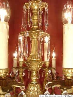 16 Lt Solid Gold Bronze Chandelier Crystal Shape Brass Old Antique
