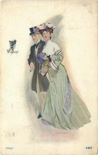JV McFall Elegant Couple Serie Top Hat Lime Gown Violets Shield PF