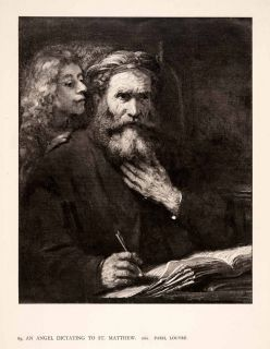 Rembrandt Religious Art Saint Matthew Angel Dictating Writing