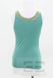 Matthew Williamson Teal Jersey Gold Crystal Beaded Front Top Size 10