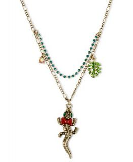 Betsey Johnson Necklace, Gold Tone Alligator Pendant Necklace