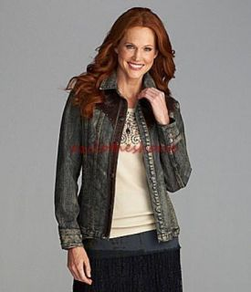 Reba Reba McEntire Western Denim Genuine Leather Studded Jean Jacket s