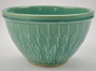 McCoy Art Pottery Green Bowl Fish Scale Pattern 4 Tall Collectible