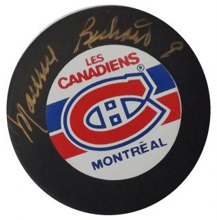 Maurice Richard Signed Canadiens Hockey Puck PSA S23524 Gold Signature