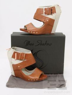 Mea Shadow Tan Leather Canvas Open Toe Wedges Size 10
