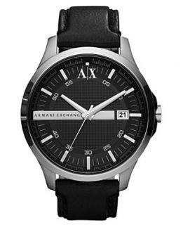 Armani Exchange Watch, Mens Black Leather Strap 46mm AX2101