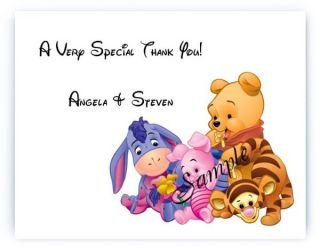 30 Personalized Baby Pooh Bear Shower Thank You Cards