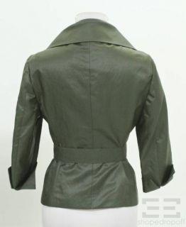 Max Mara Dark Green Silk Belted Jacket Size 6