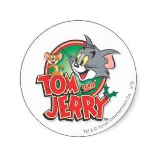Tom and Jerry Classic Logo Round Stickers