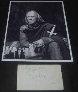 Actor Max Von Sydow Signed Card and Great The Seventh Seal Print
