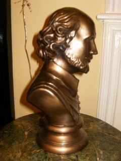 Large Art Deco Vintage Retro Bronze Shakespeare Bust Statue Figure
