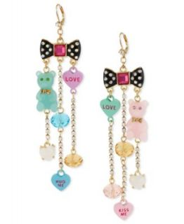 Betsey Johnson Earrings, Gold Tone Glass Bow and Candy Charm Linear