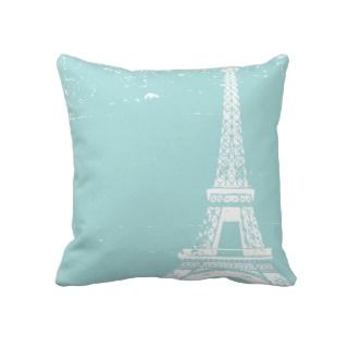 Tiffany Blue Eiffel Tower Custom Cotton Pillows